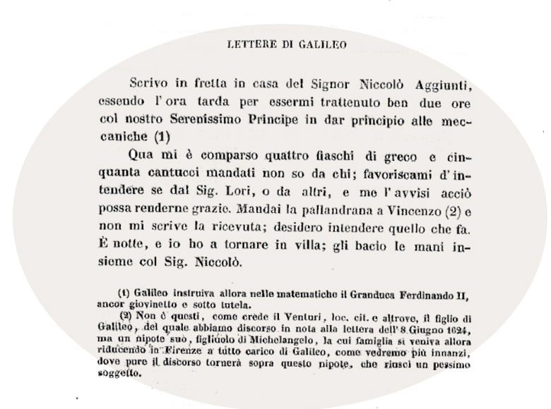Lettera Galileo Galilei su cantuccini alle mandorle